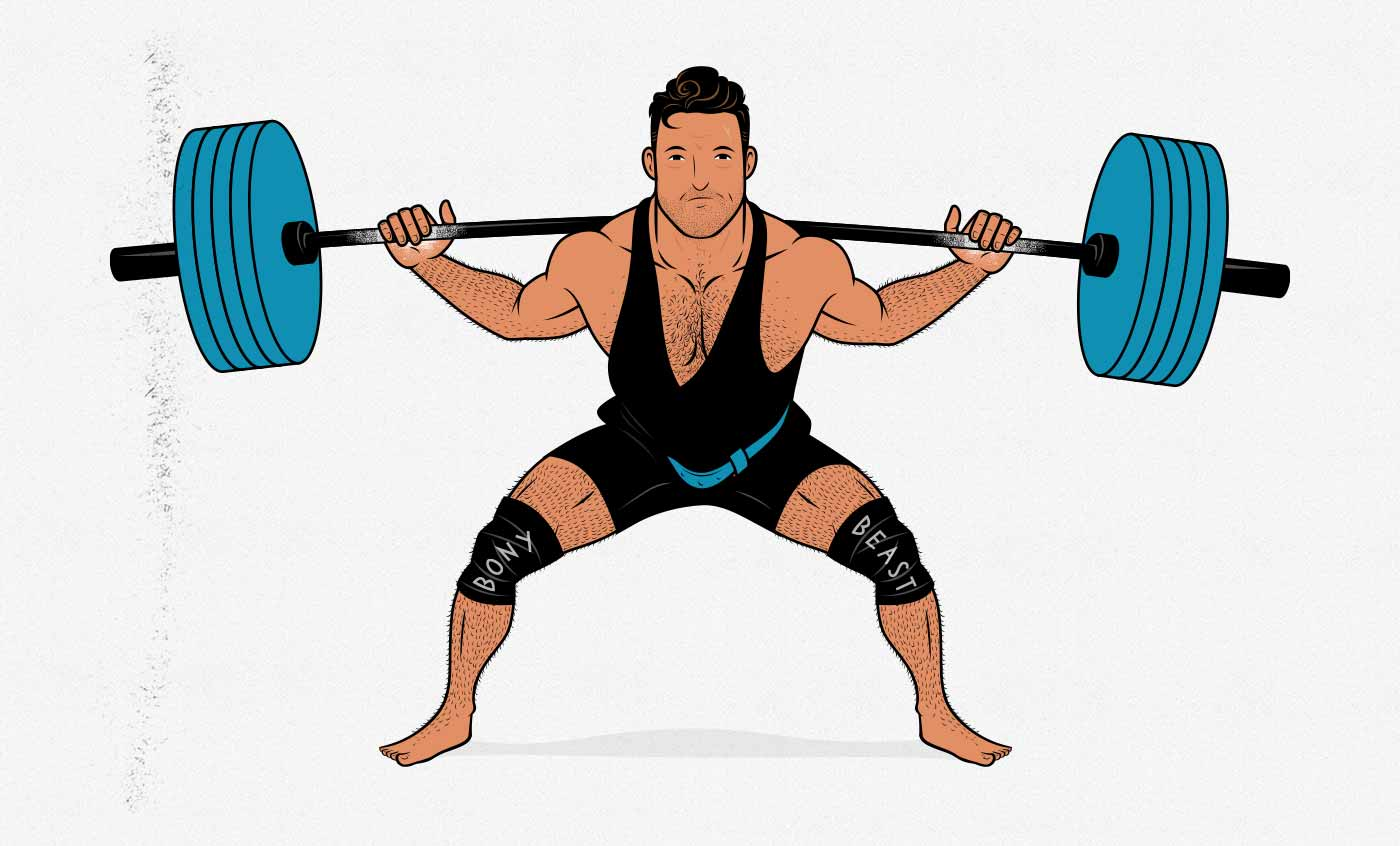 Illustration of a geared powerlifter doing a barbell back squat in a squat suit and knee wraps.