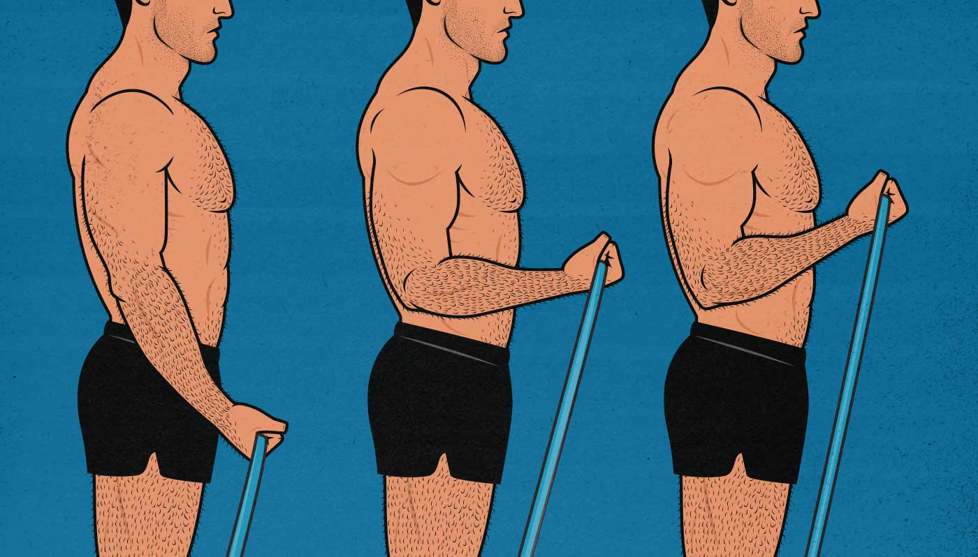 Illustration of a muscular man doing biceps curls with resistance bands.