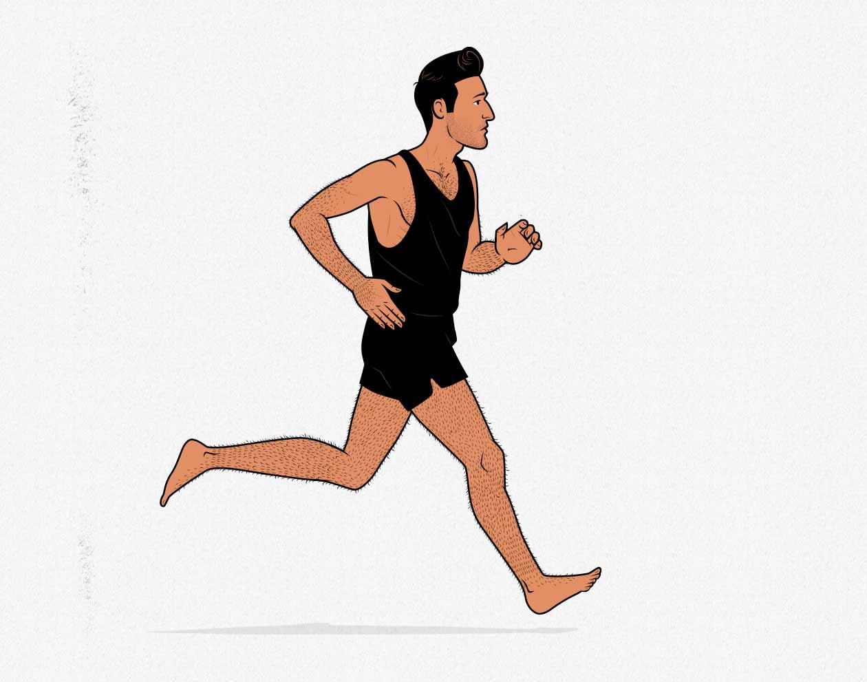 Illustration of a skinny guy doing cardio.