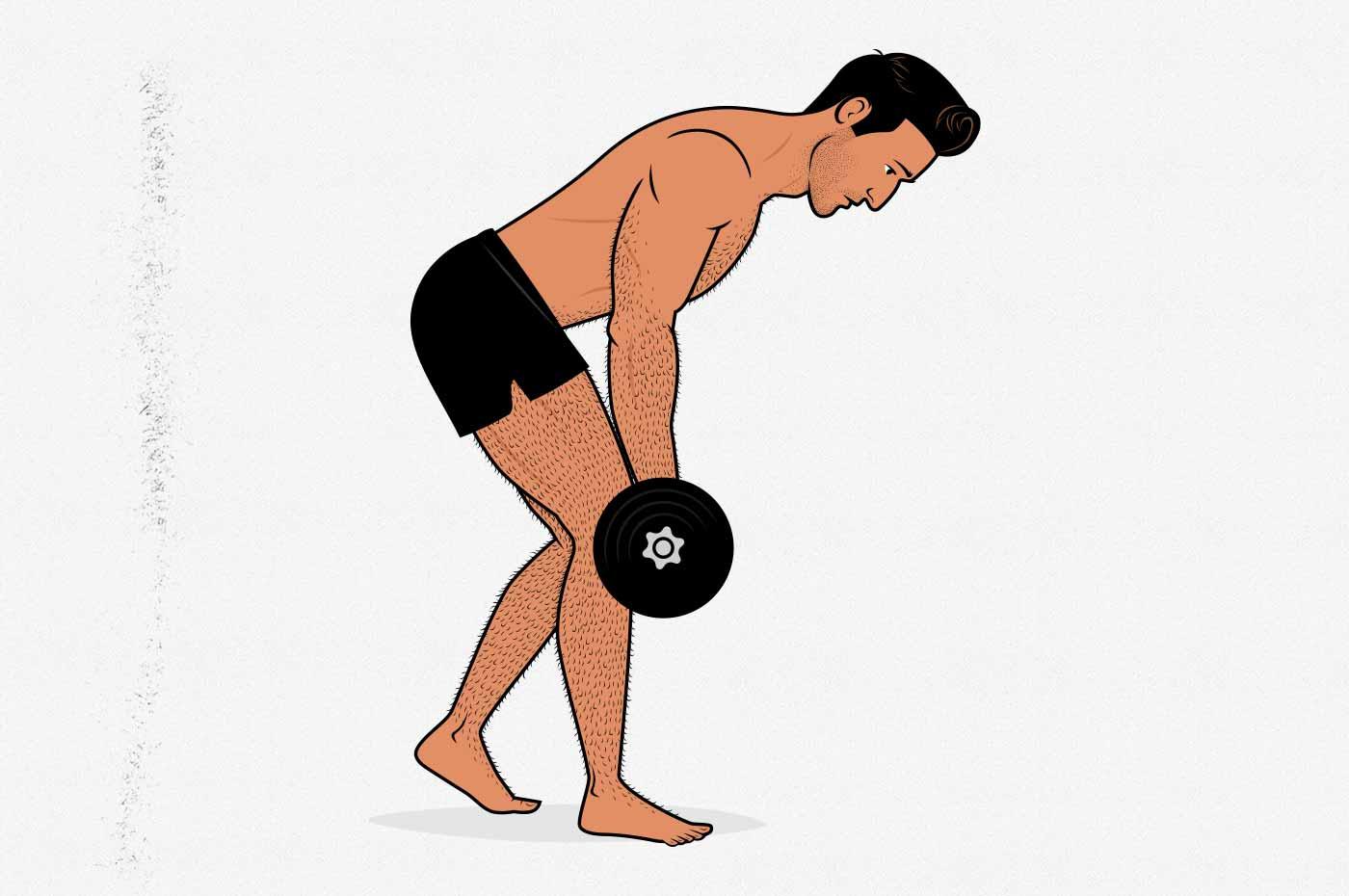 Illustration of a man doing a split-stance dumbbell Romanian deadlift.