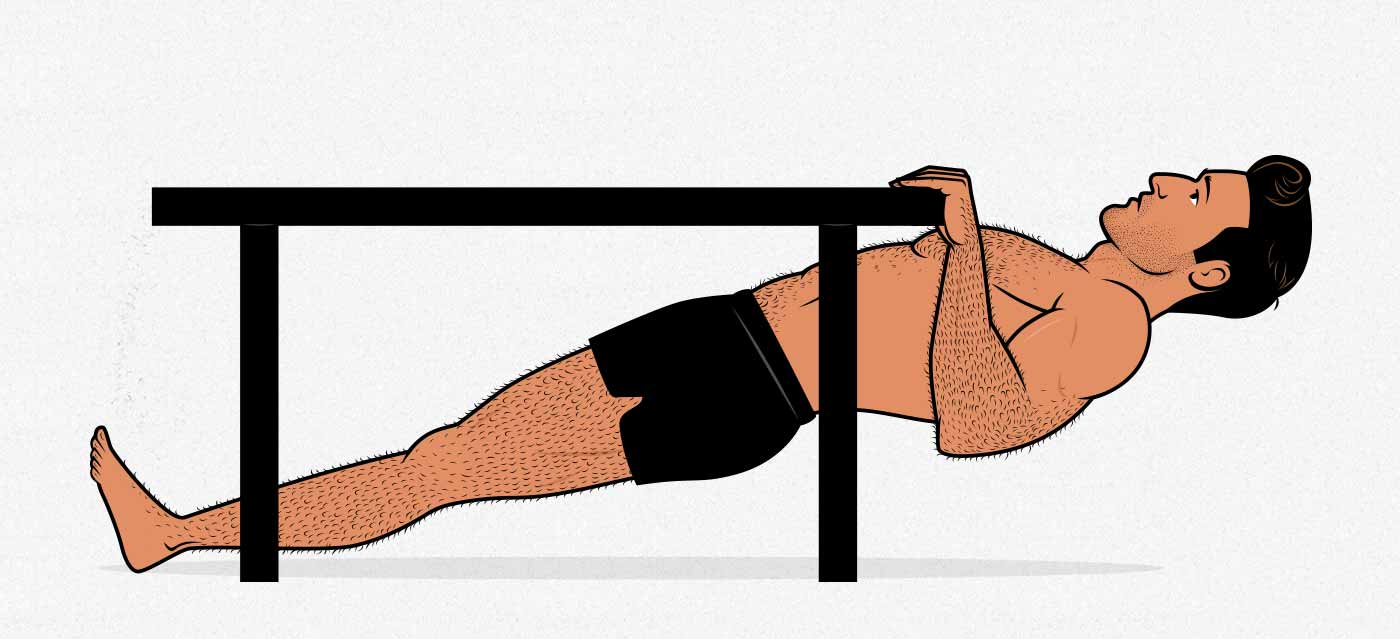 Illustration of a man doing an inverted table row with bodyweight.