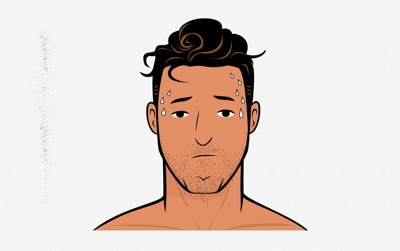 Illustration of a sweaty, tired man with disheveled hair.
