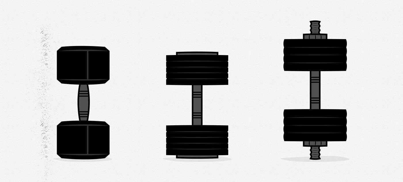 Illustration showing the different types of adjustable dumbbell.