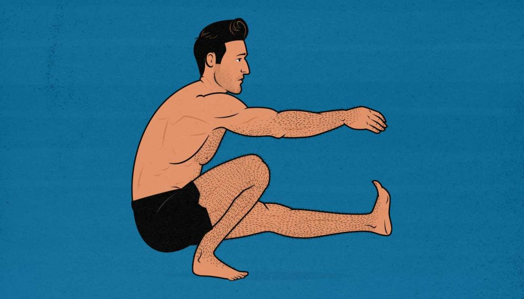 Illustration of a man doing a single-legged bodyweight pistol squat.