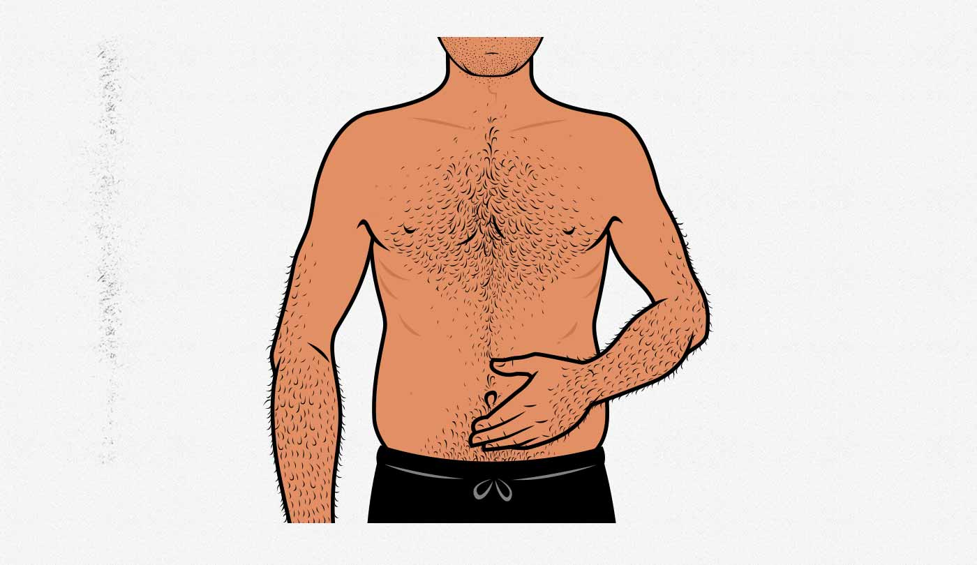 Illustration of a skinny-fat man.