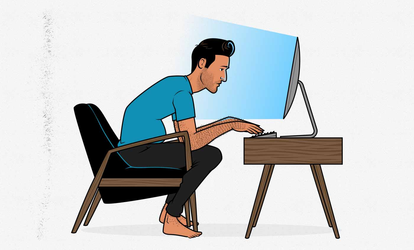Illustration of a skinny-fat man sitting at a desk staring at his computer screen.
