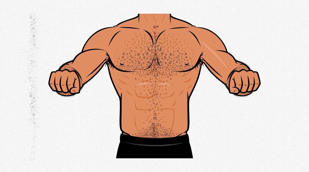 Illustration showing hand positioning and width during the push-up.