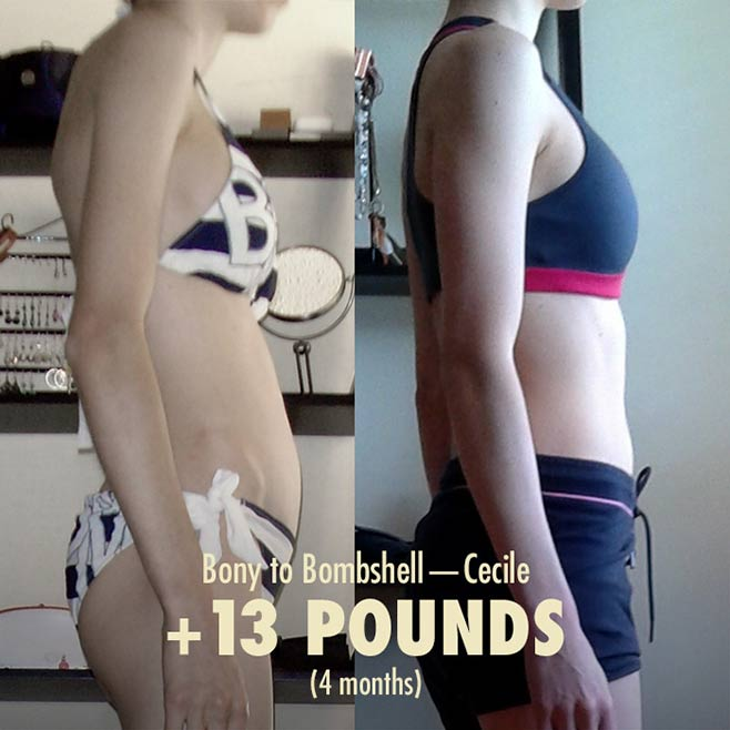 Before and after photo of a woman gaining weight.