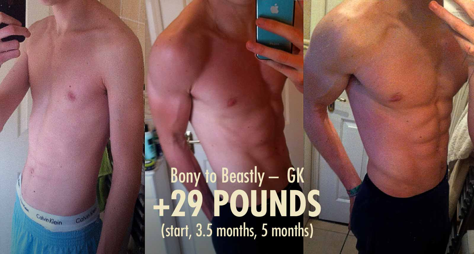 Photo showing a skinny ectomorph bulking up and becoming muscular from doing the Bony to Beastly Program.