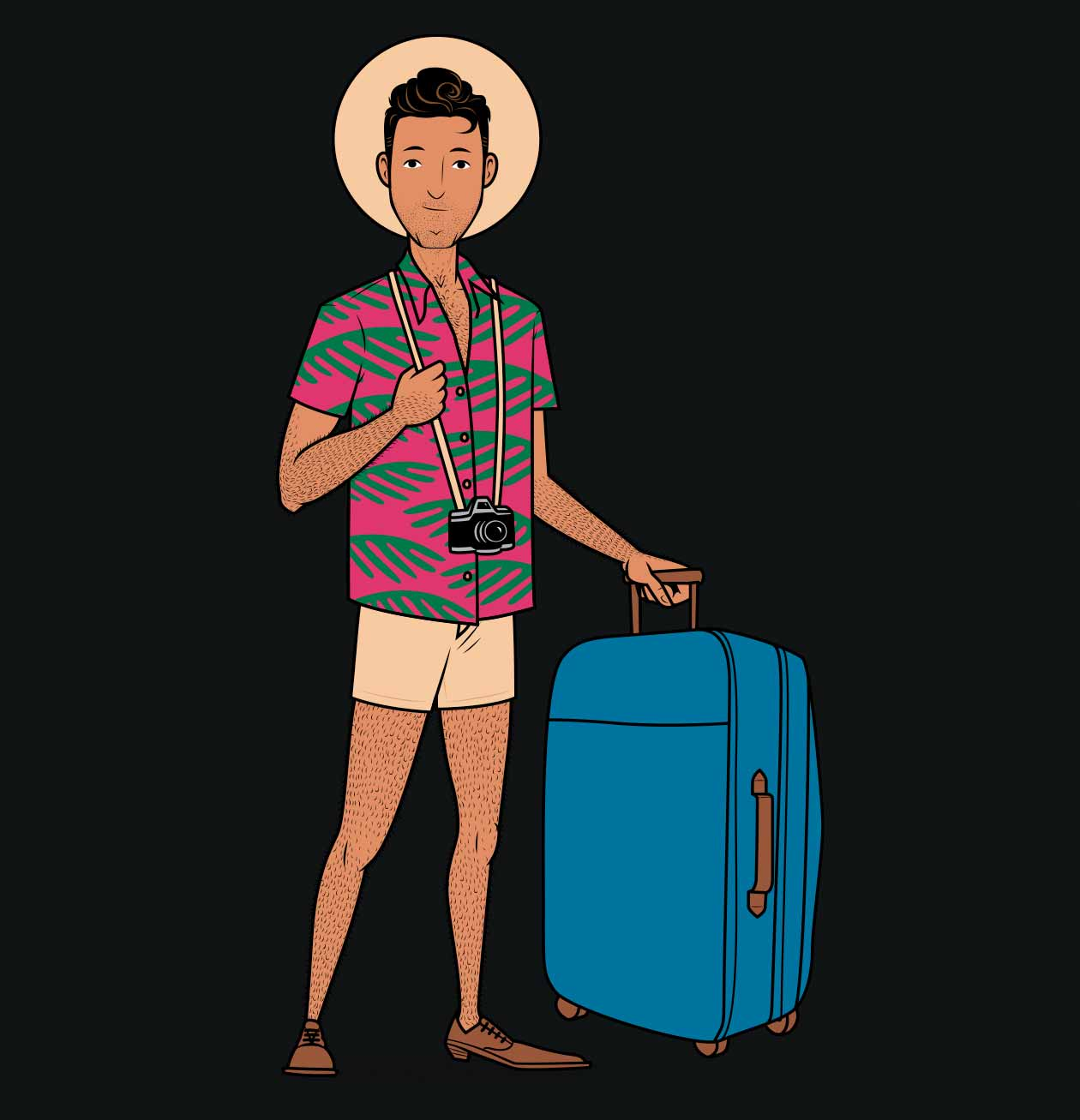 Illustration of a skinny traveller/tourist who's ready to build muscle.