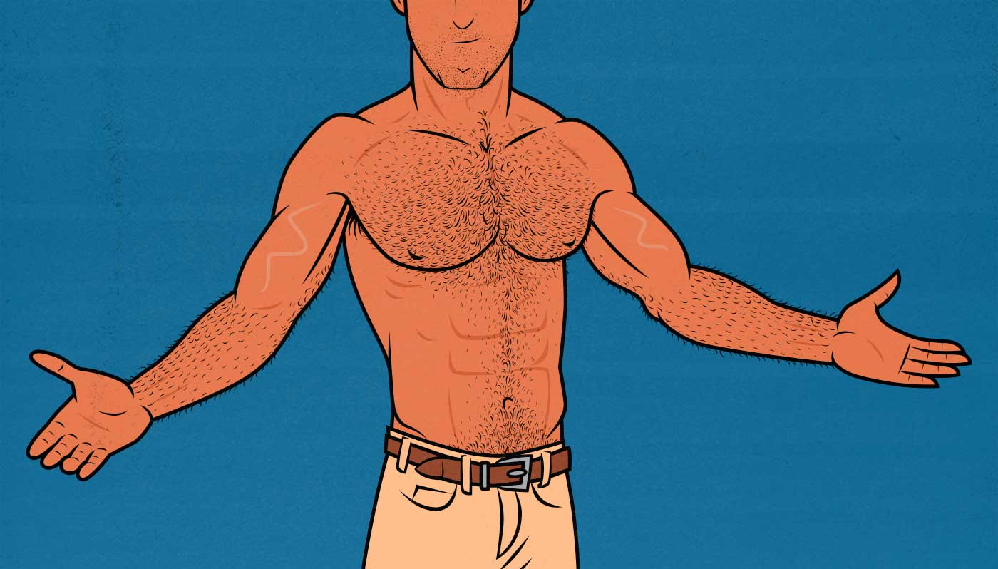 Illustration of an ectomorph who bulked up and built a Hollywood physique.