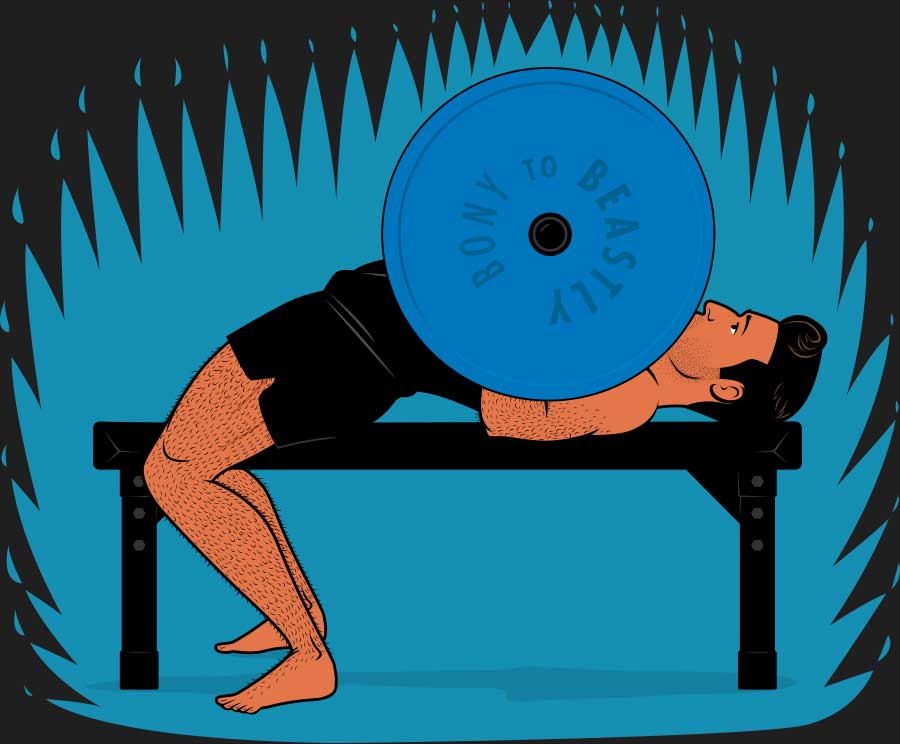 Illustration of a skinny guy bench pressing to build muscle