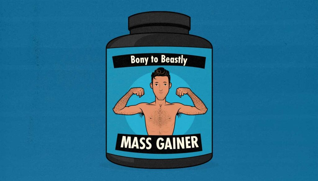 Illustration of a mass gainer supplement for skinny guys.