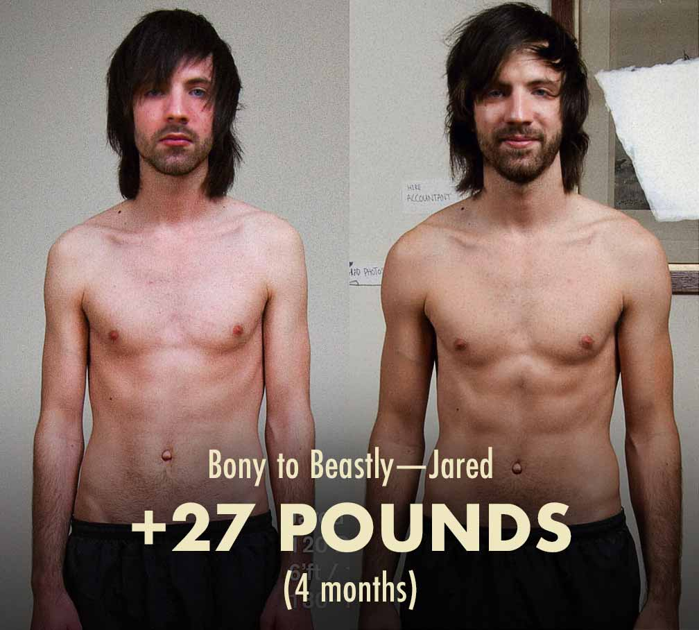 Before and after photos showing Jared's results from doing a lean bulk and then a cut.
