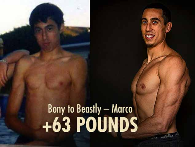 Before and after photos showing Marco Walker-Ng building muscle as a skinny ectomorph.