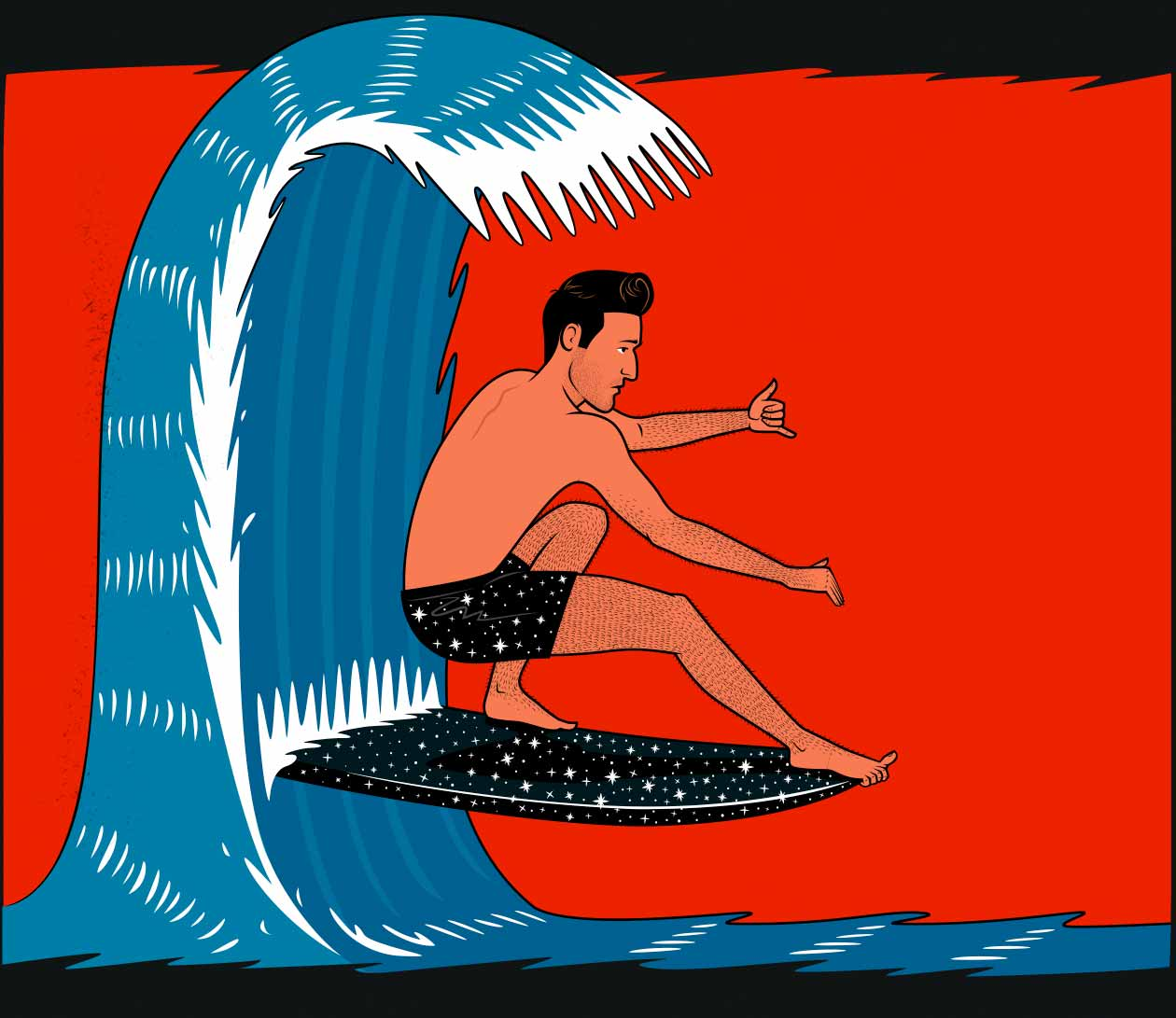 Illustration of a skinny fat ectomorph surfing