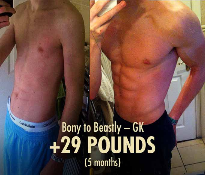 Before and after photos showing the results from doing the Bony to Beastly Program