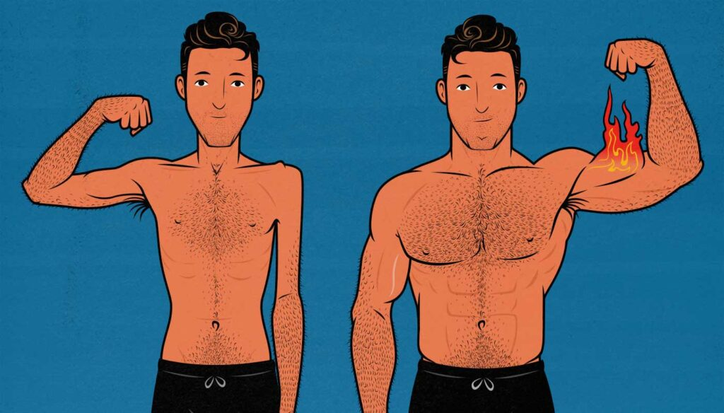 Illustration of a skinny guy doing a lean bulk, gaining no visible fat.