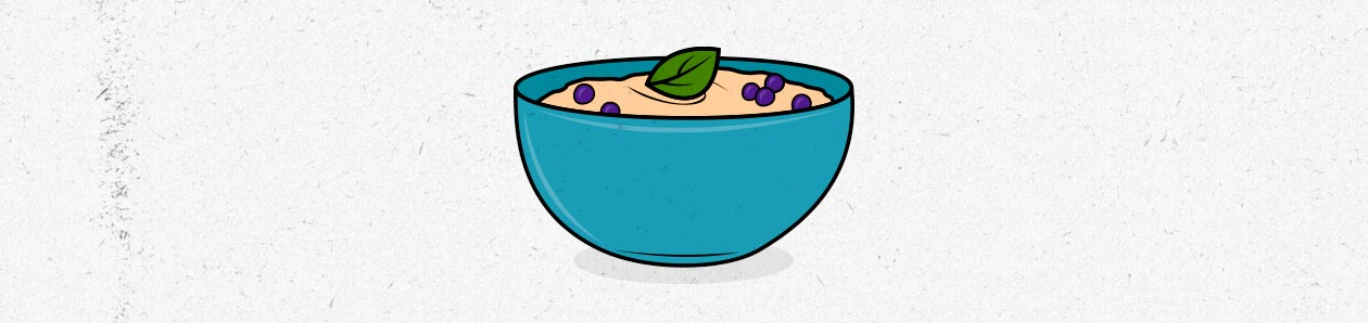 Illustration of a bowl of oatmeal, a popular food for lean bulking.