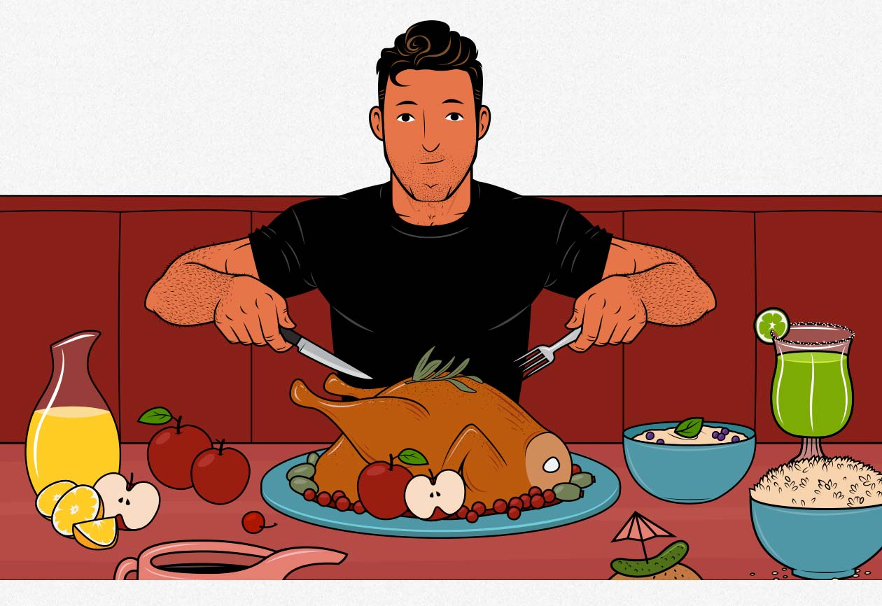 Illustration of a man eating a lean bulking diet.