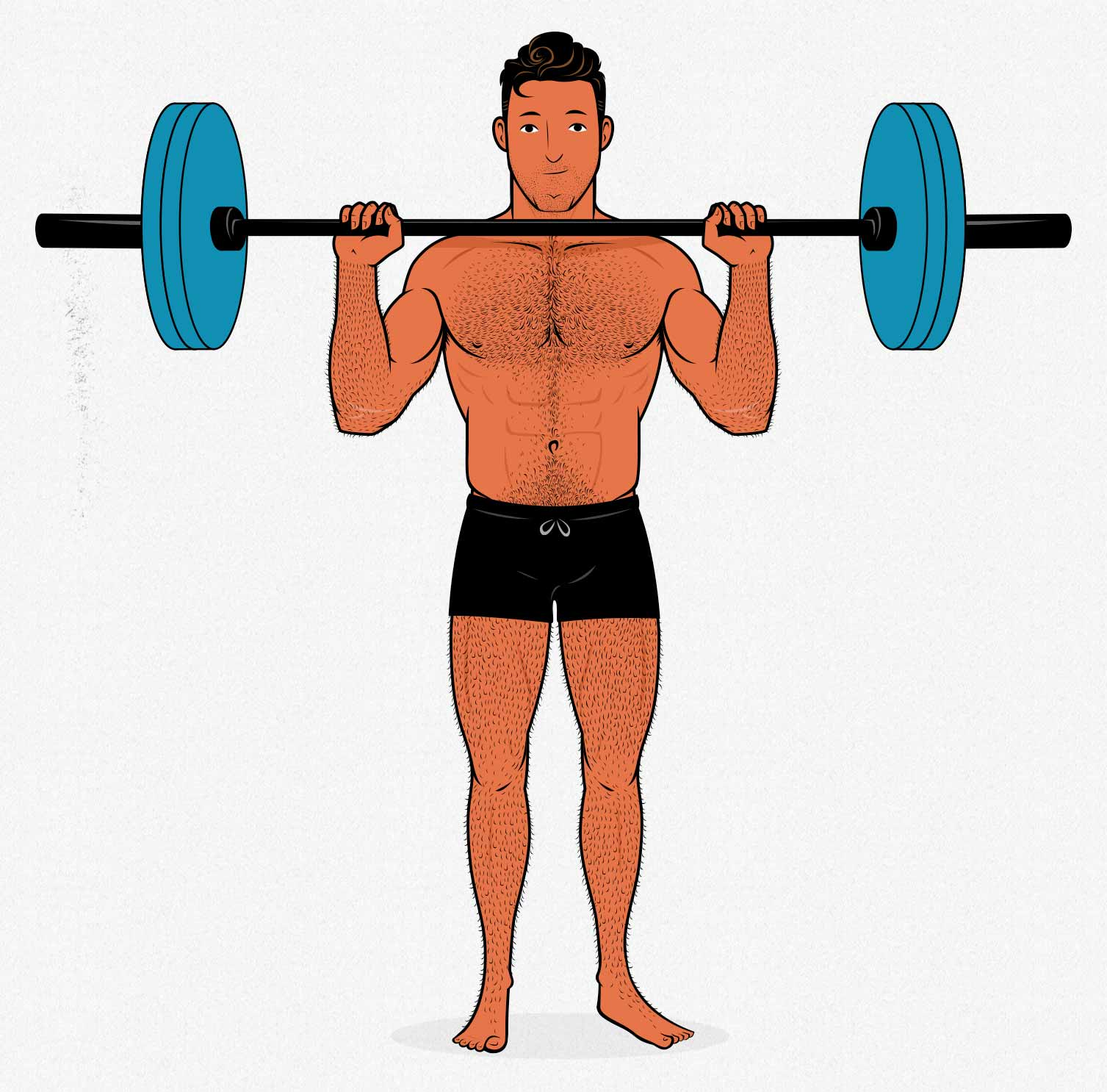 Illustration of a bodybuilder doing the overhead press.