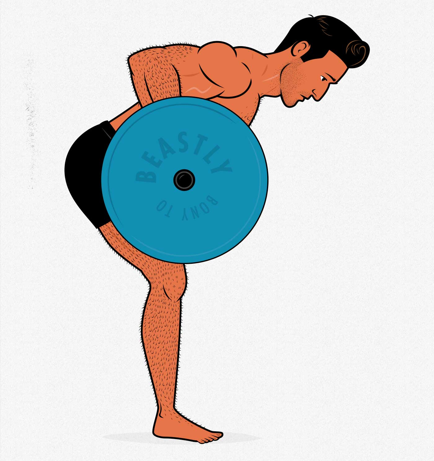 Illustration of a man doing a barbell row to build bigger forearms.