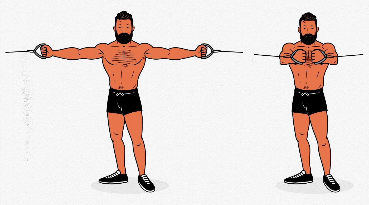 Illustration of a bodybuilder doing the cable crossover to build a bigger chest.
