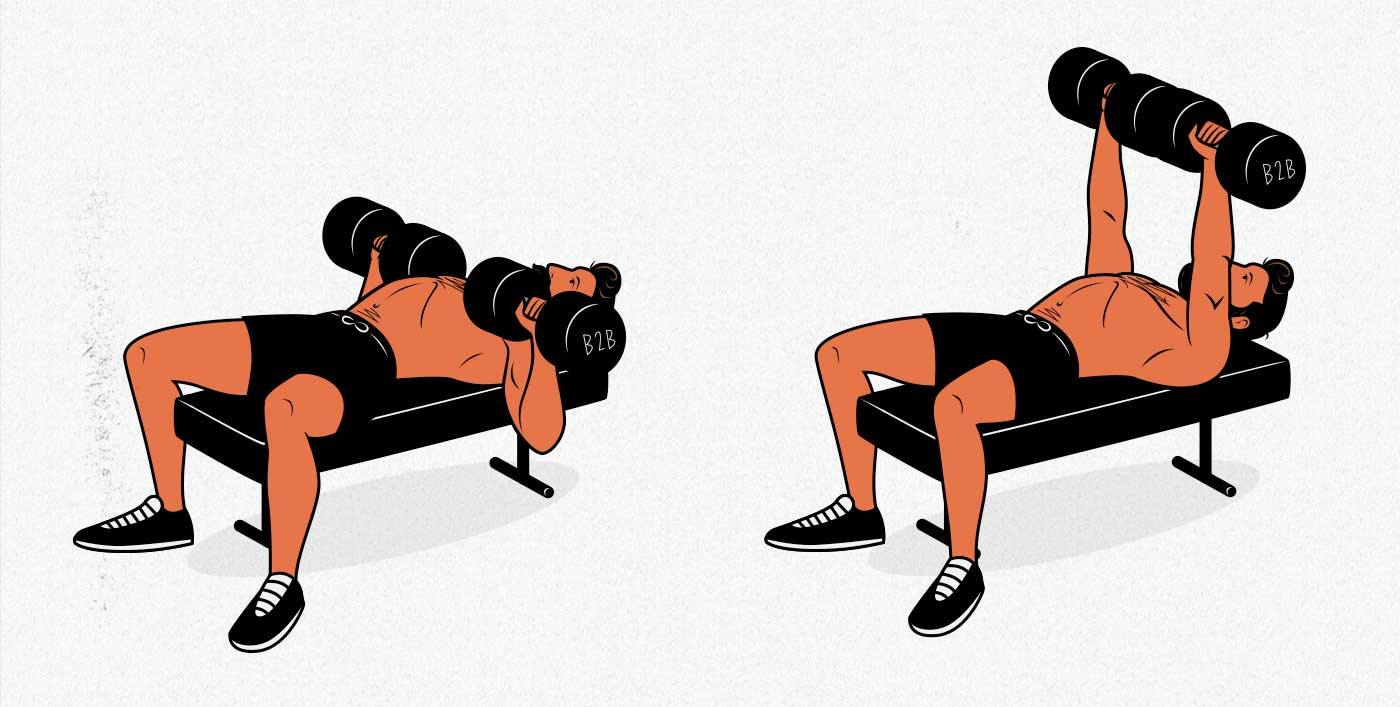 Illustration of a man doing a dumbbell bench press to build a bigger chest.