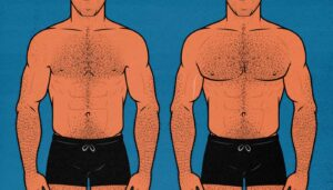 Before and after illustration showing the results of a man building a bigger chest.