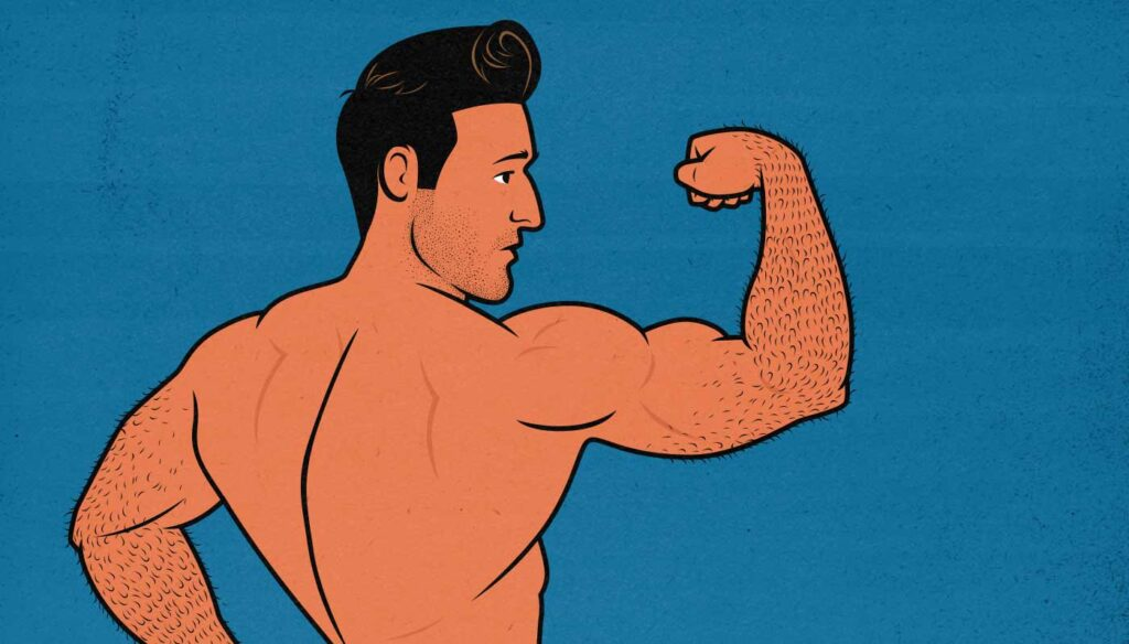 Illustration of a skinny guy flexing his forearm muscles.