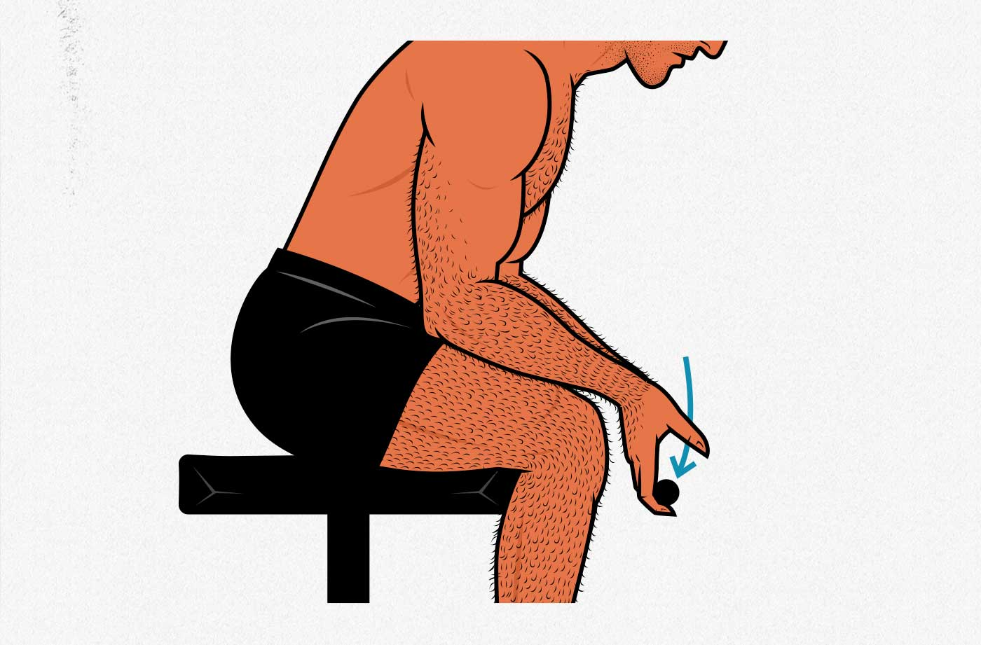 Illustration of a man doing the seated wrist curl exercise.