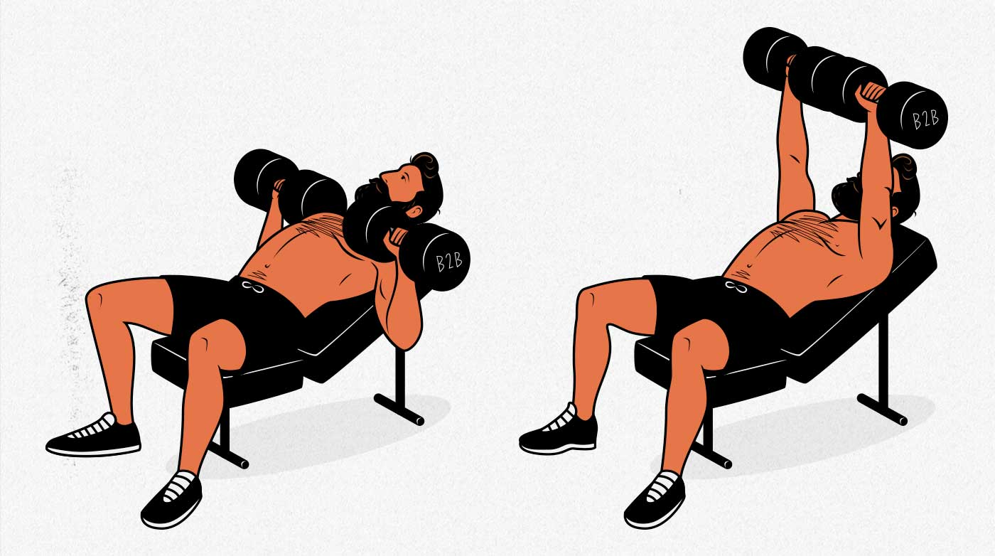 Illustration of a bodybuilder doing the incline bench press exercise to build a bigger chest.