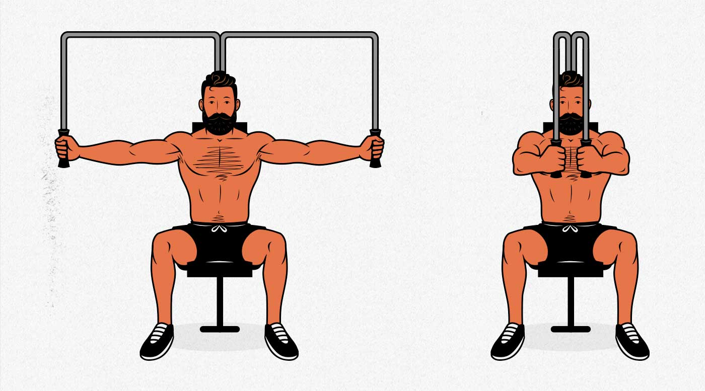 Illustration showing a man doing the chest fly on an exercise machine to build a bigger chest.