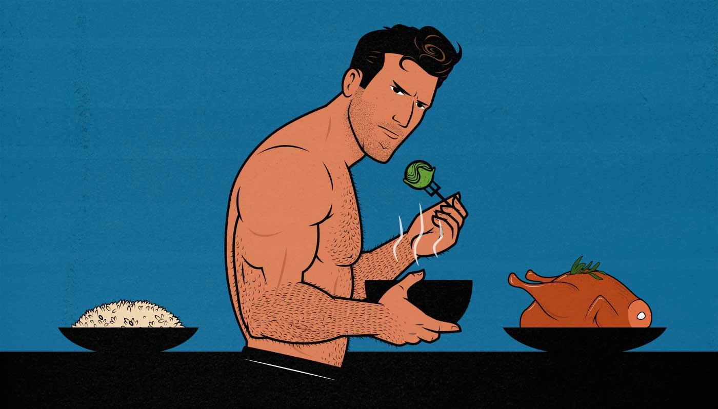 Illustration of a skinny bodybuilder eating a bulking diet.