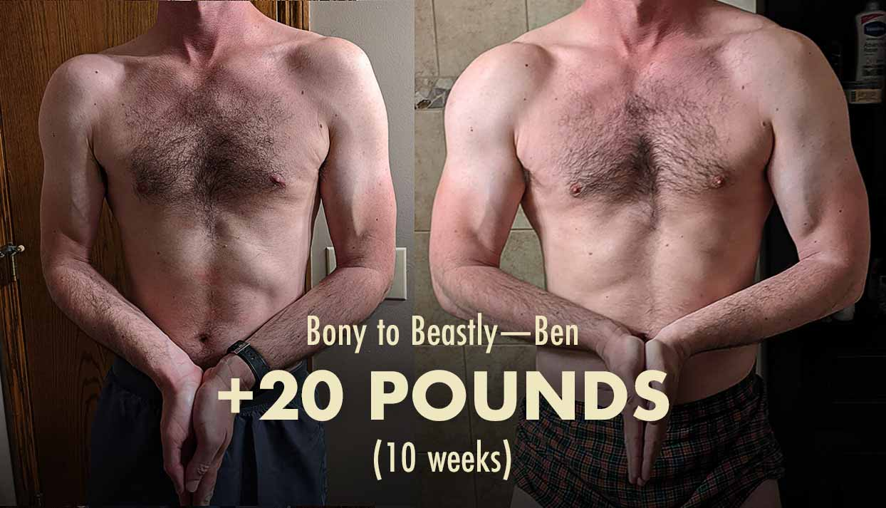 Before and after photo showing the results of a skinny guy working out to build bigger arms and biceps.