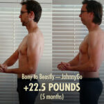 Before and after photo showing the results of a intermediate lifter bulking up with the Bony to Beastly Program.