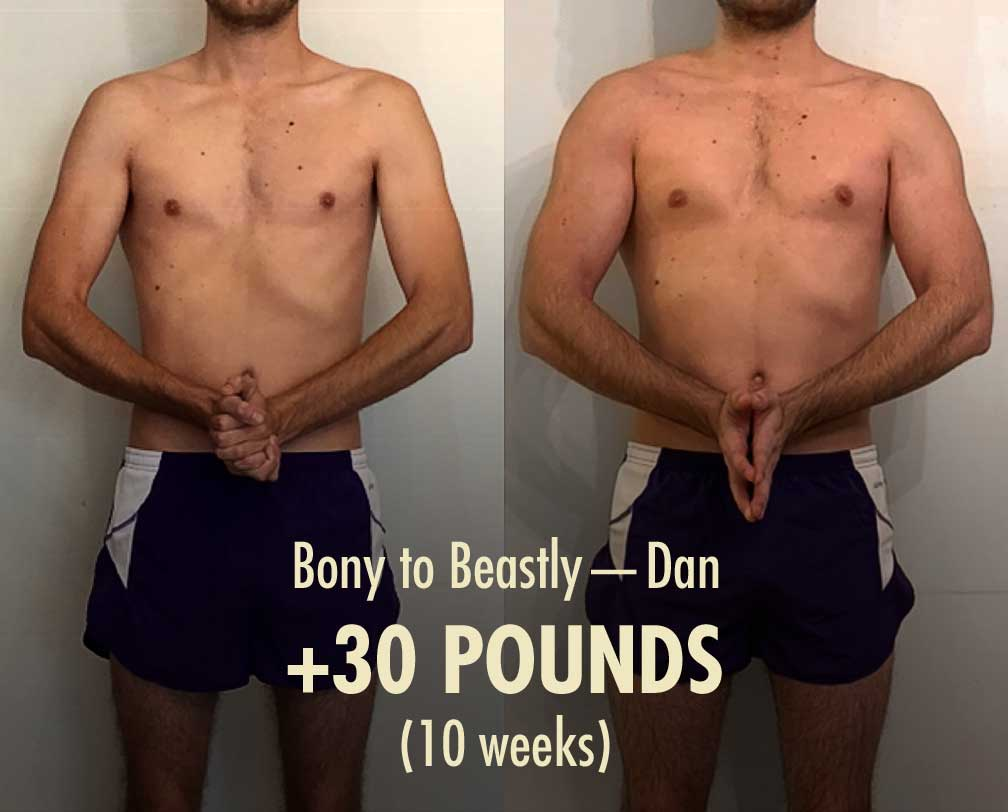 Before and after photo showing the results of a skinny guy bulking up with the Bony to Beastly Program.
