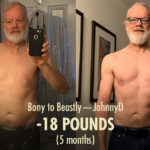 Before and after photo showing the results of a skinny guy bulking up with the Bony to Beastly Program as an older man.