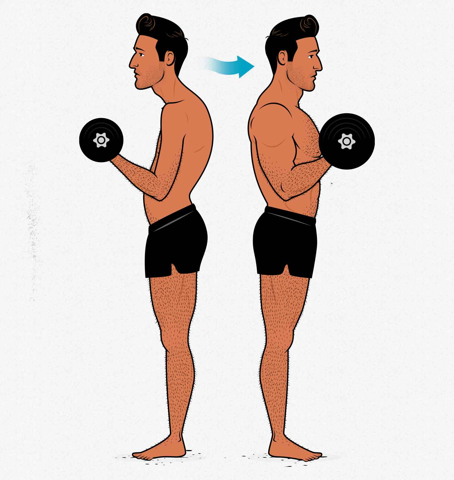 Illustration of a skinny guy's results building bigger arms by bodybuilding