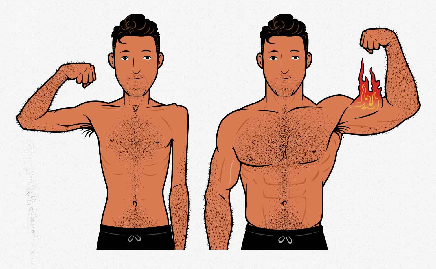 Illustration showing the results of a skinny guy building bigger arms.