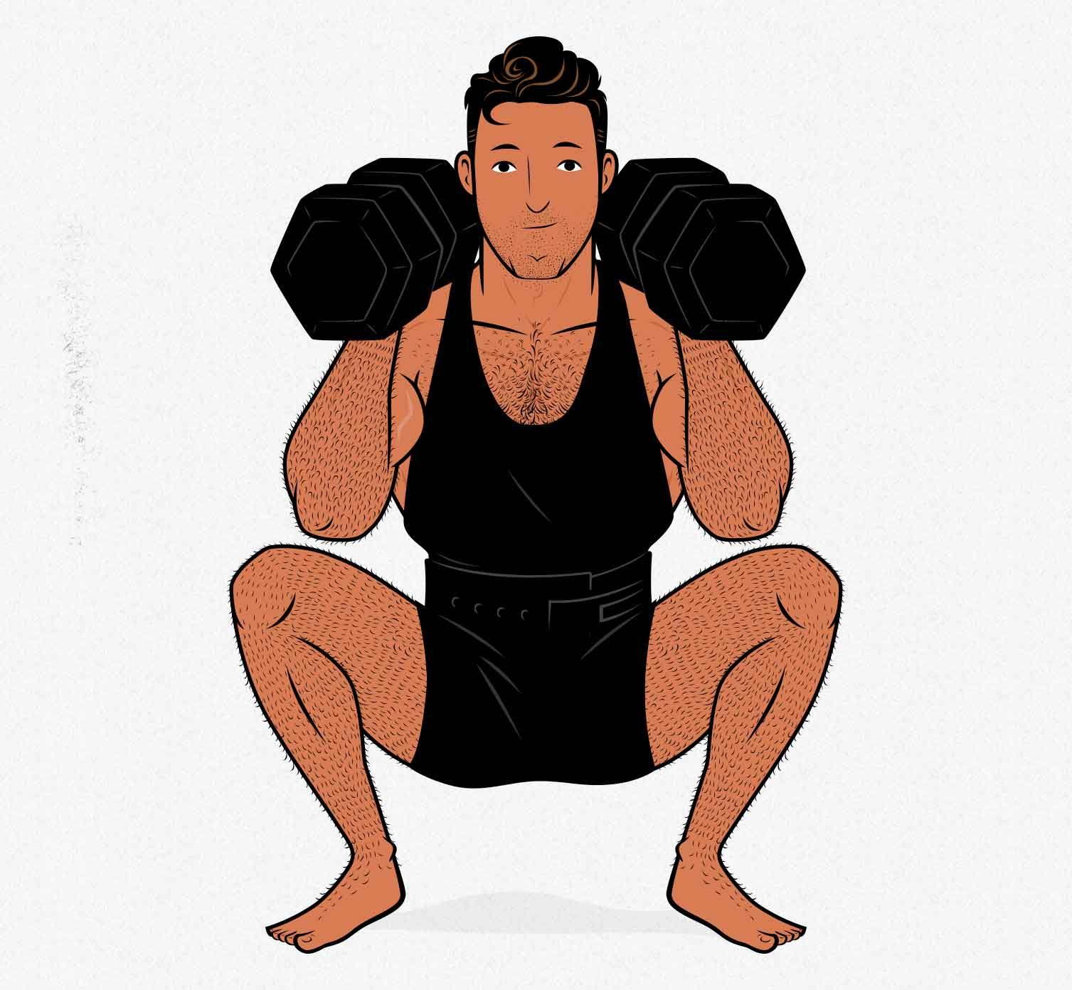 Illustration of a bodybuilder doing a barbell squat alternative with dumbbells at home.