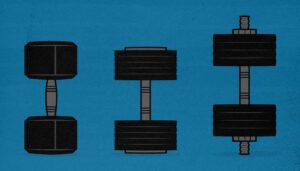 Illustration of three popular types of adjustable dumbbells you can buy for your home gym.