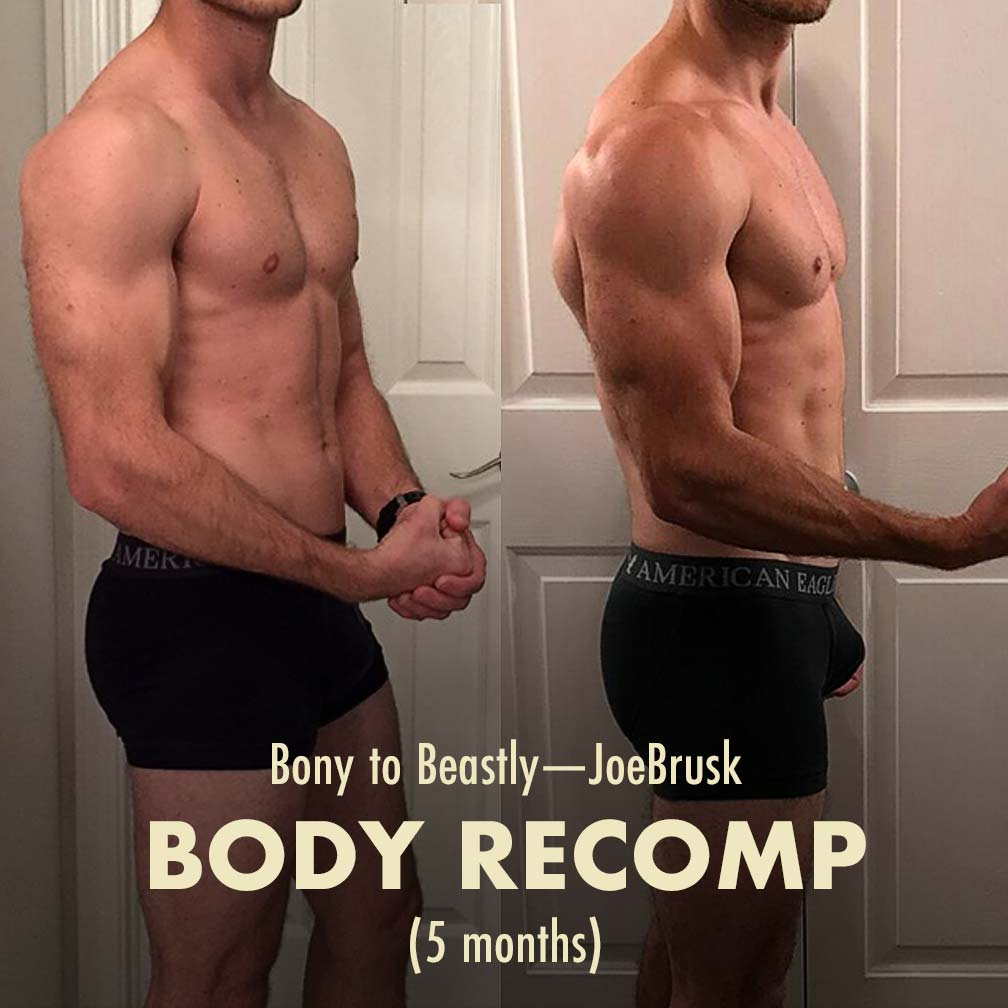 Before and after photo of a guy building muscle and losing fat simultaneously, achieving body recomposition.