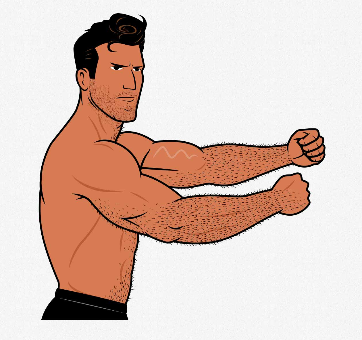 Illustration of a bodybuilder flexing his arms.
