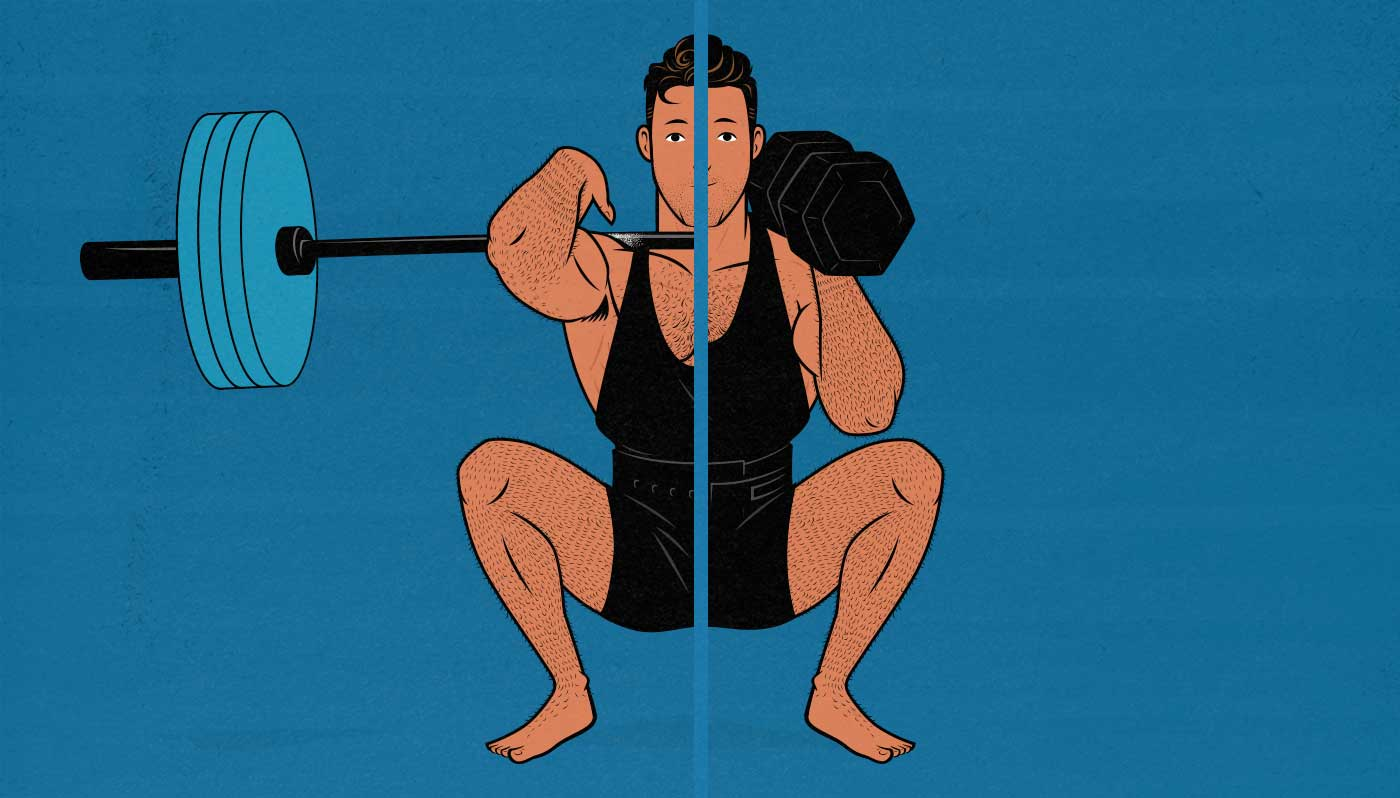 Illustration of a bodybuilder using a barbell and dumbbells to build muscle.