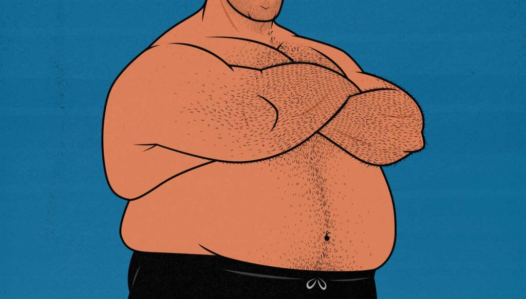 Illustration showing a skinny guy who gained too much fat while bulking.