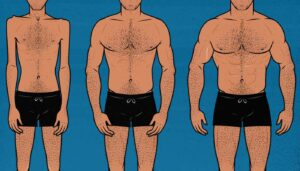 Illustration showing a skinny guy bulking up and gaining muscle.