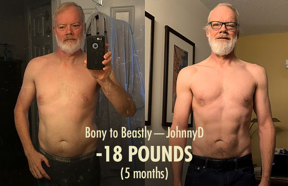 A before and after photo showing Johnny's cutting results.