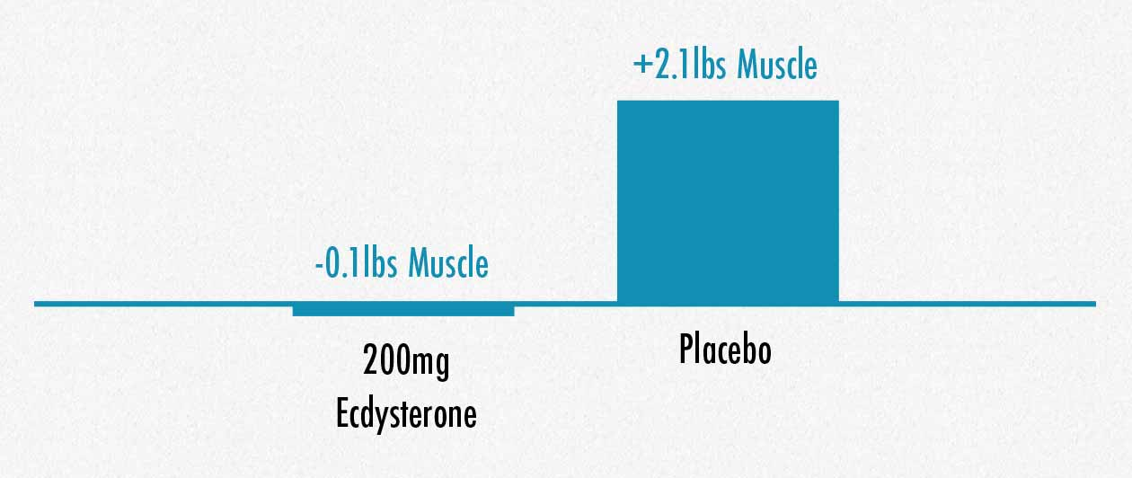 Graph showing that supplementing with ecdysteroids like turkesterone doesn't increase muscle growth.