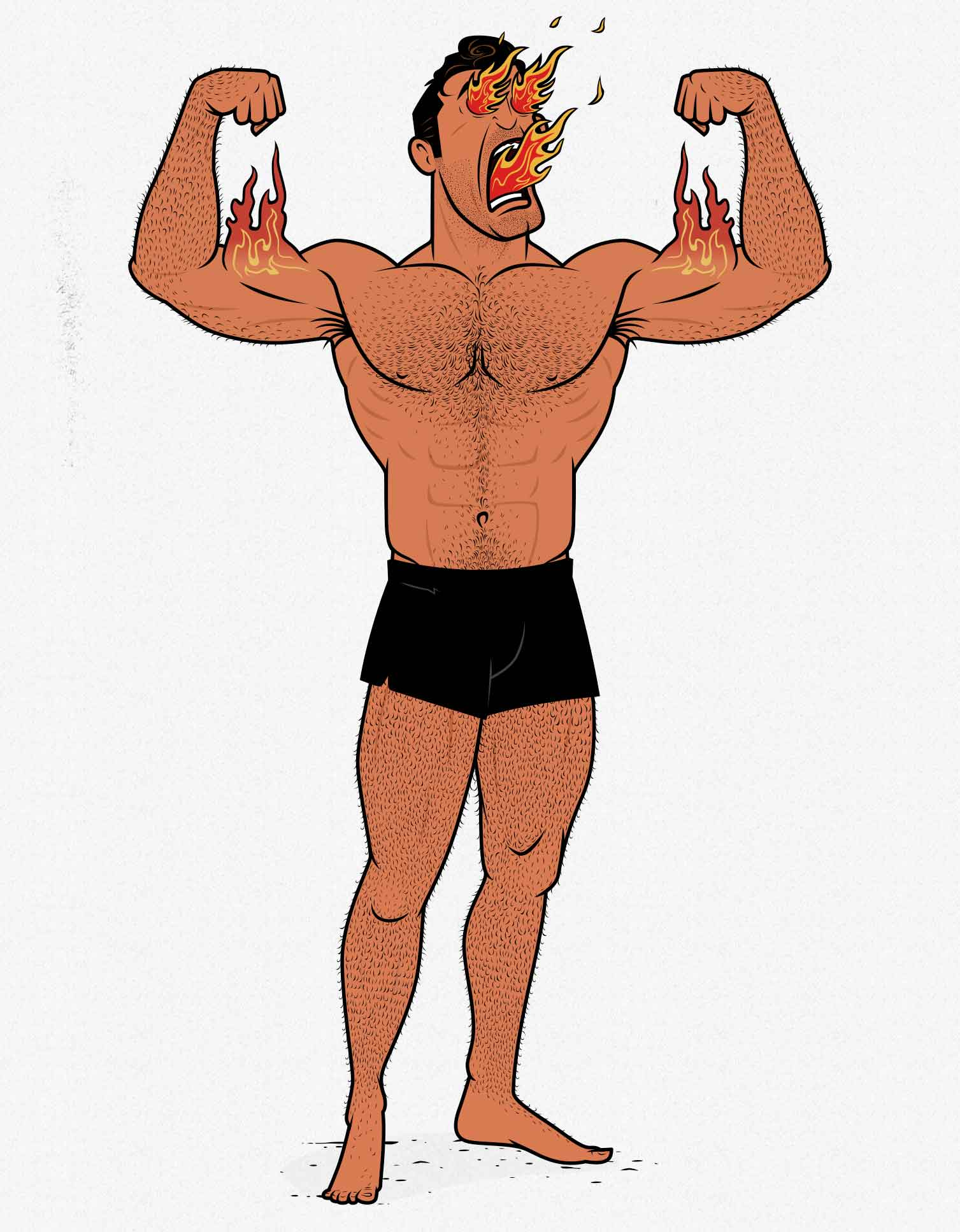 Illustration of a bodybuilder building tons of muscle.